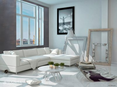 Modern Architectural Design of Decorated Living Room with White Elegant Furniture.
